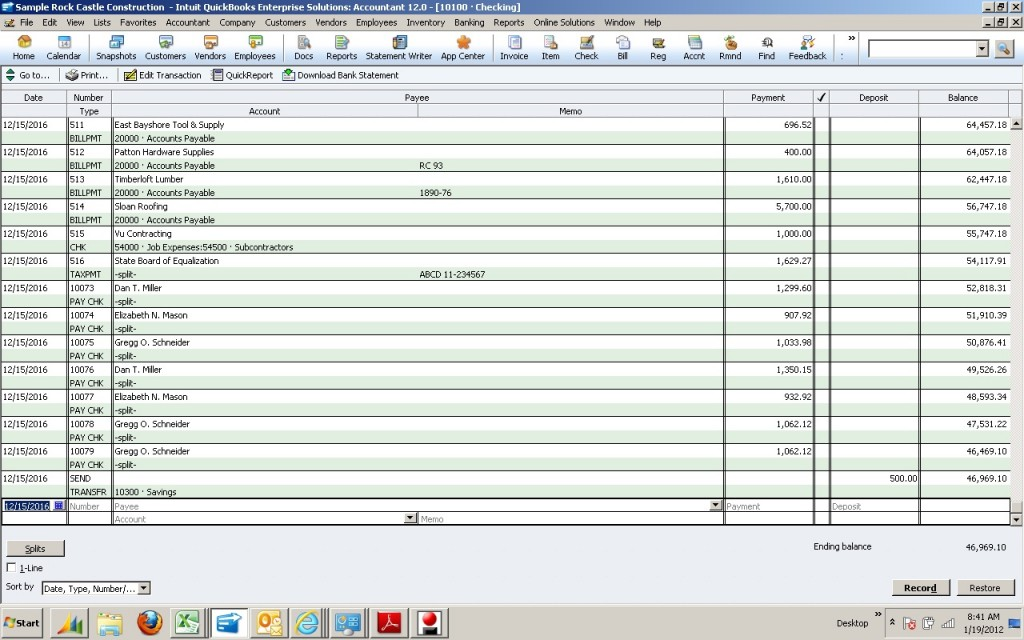 using the check register in quick books to record manual checks rh evarsys com manual check register printable manual check register forms